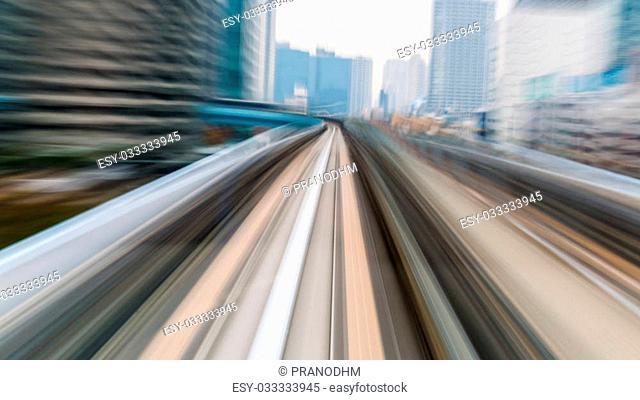 Mono rail motion blurred, Tokyo Japan