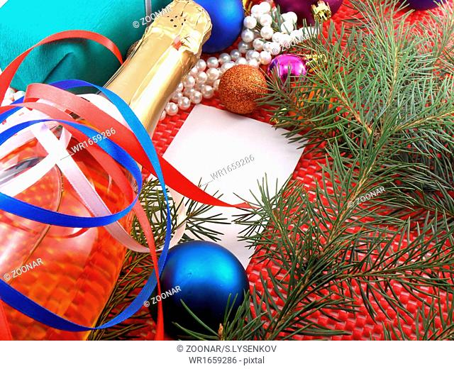 Christmas decoration and balls, new year tree branch