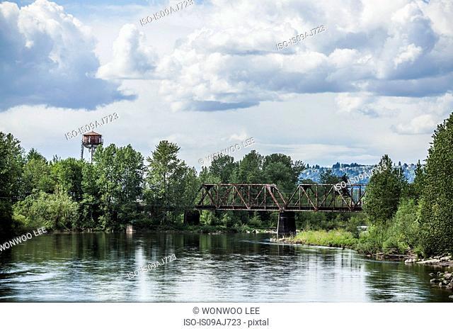 Steel bridge over water, Portland, Oregon