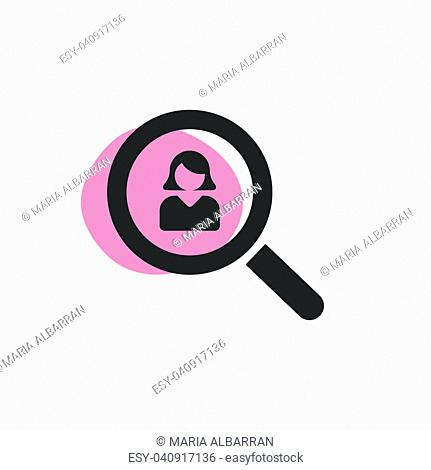 Magnifying glass looking for a woman isoleted web icon. Vector illustration