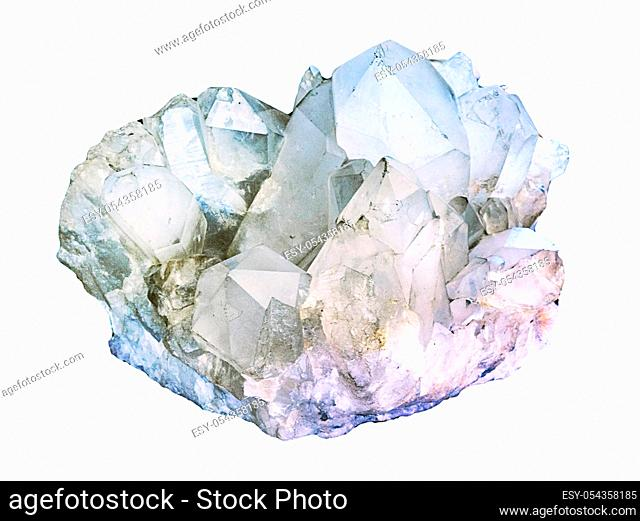 Himalayan clear quartz cluster with hematite inclusions isolated on white background. rock crystal macro shooting of geological collection mineral - piece of...