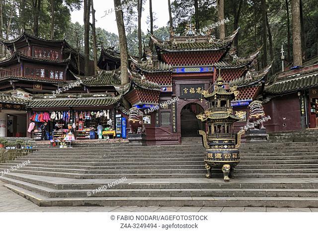 Dujiangyan, China - December 12, 2018: Buddhist temple in the Qingcheng mountain area close to Chengdu