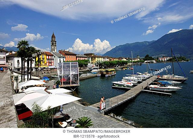 Promenade of Ascona with marina on Lago Maggiore lake, Ticino, Switzerland, Europe