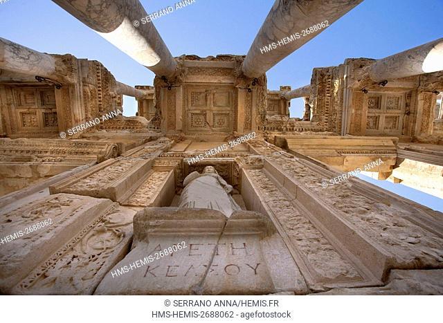 Turkey, Aegean Region, Izmir Province, Selçuk, Selcuk, Ephesus, Efes, Celsus Library, listed as World Heritage by the UNESCO