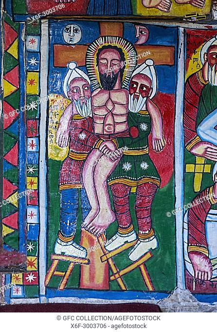 Descent from the Cross of Christi, canvas painting, orthodox rock-hewn church Mikael Mellehayzengi, Tsaeda Amba, Tigray, Ethiopia