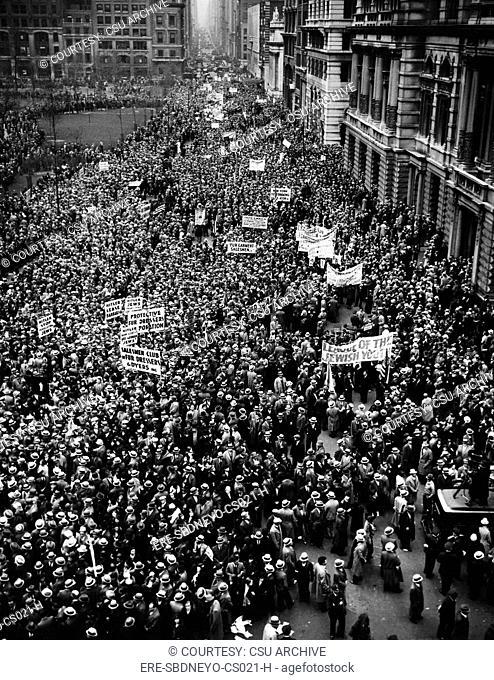 New York City, Hitler protest parade, circa 1933. CSU Archives/Courtesy Everett Collection