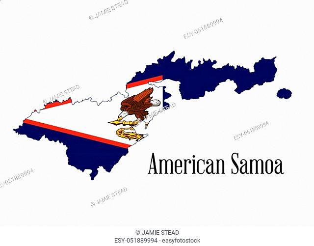 Silhouette map of the Amerian Samoa island on a white background