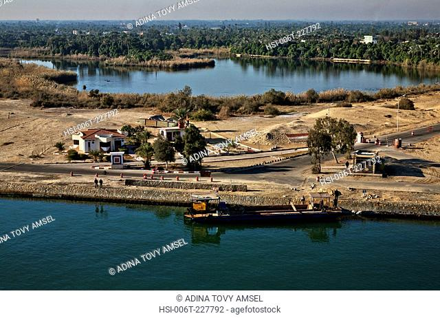 Middle East. Egypt. Suez Canal. Border post. Boat