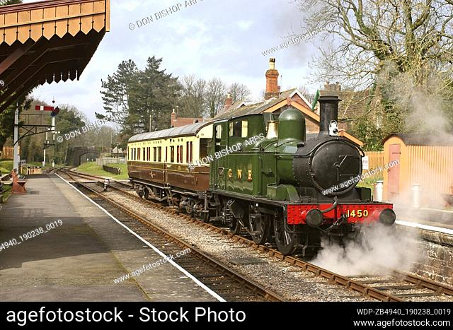 UK - England Somerset Crowcombe Heathfield A typical country station scene - GWR 14xx tank No. 1450 standing at Crowcombe Heathfield station