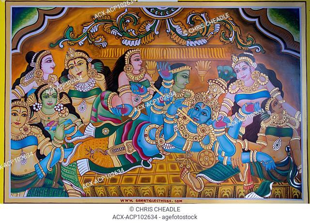 Mural of Shiva and his consorts, Varanasi, formerly Benares, Uttar Pradesh, India