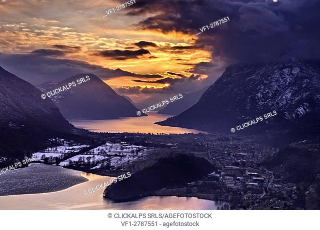 Sunset, Piano lake, Lugano Lake,porlezza, lombardy, italy,switzerland