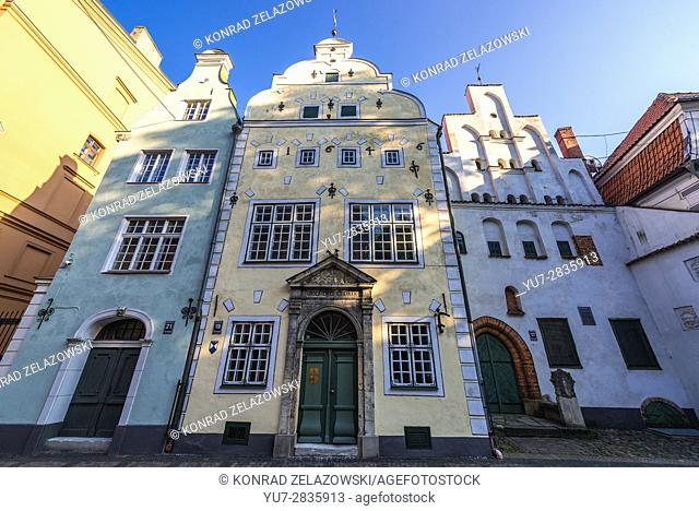 Residential buildings called Three Brothers on the Maza Pils Street on the Old Town of Riga, capital city of Republic of Latvia