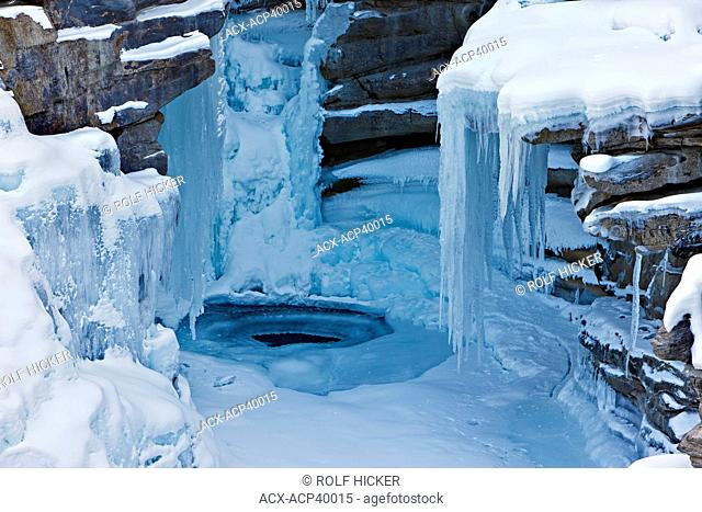 Ice formations on the Athabasca Falls during winter, Athabasca River, Jasper National Park, Canadian Rocky Mountains, Alberta, Canada