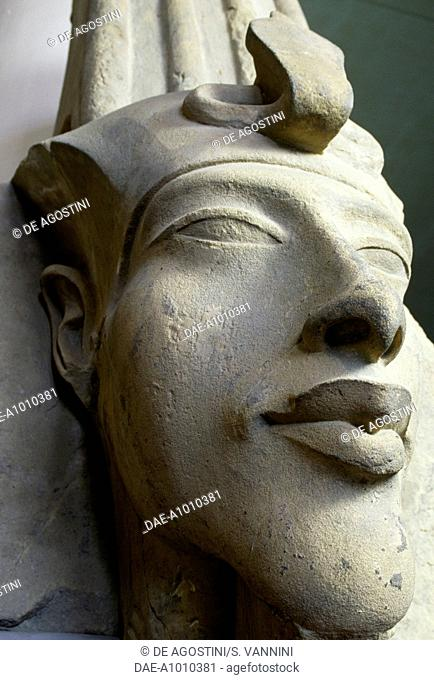 Statue depicting the face of Akhenaten (Amenhotep IV or Amenophis IV). Egyptian civilisation, New Kingdom, Dynasty XVIII.  Cairo, Egyptian Museum