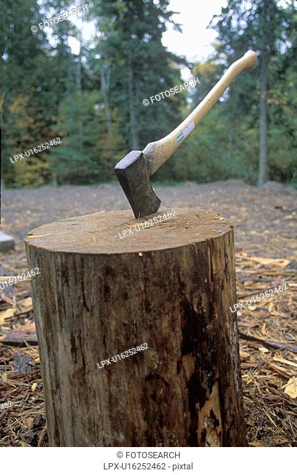 An axe being thrust into a large log