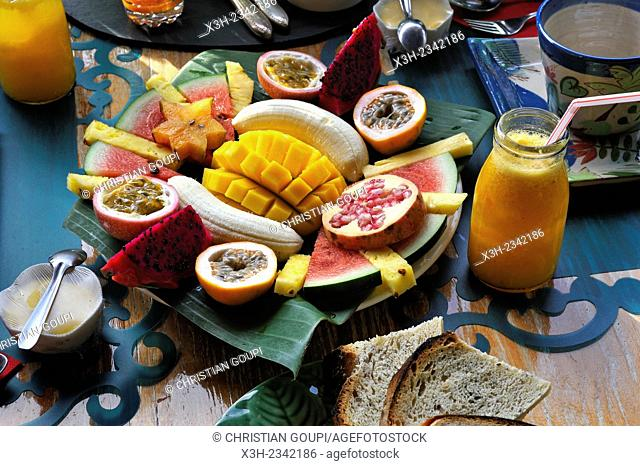 breakfast served at ''Habitation Getz'' guesthouse, Vieux-Habitants, Basse-Terre, Guadeloupe, overseas region of France, Leewards Islands, Lesser Antilles