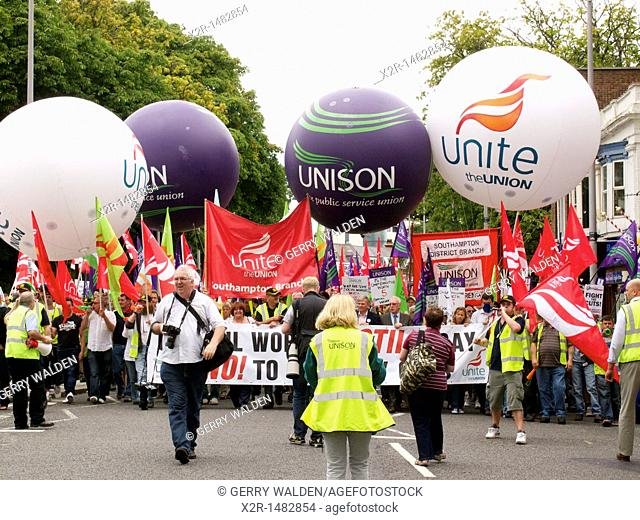 Workers at a rally in Southampton protesting about pension rights and changes to their contracts caused by the local councils cut-backs