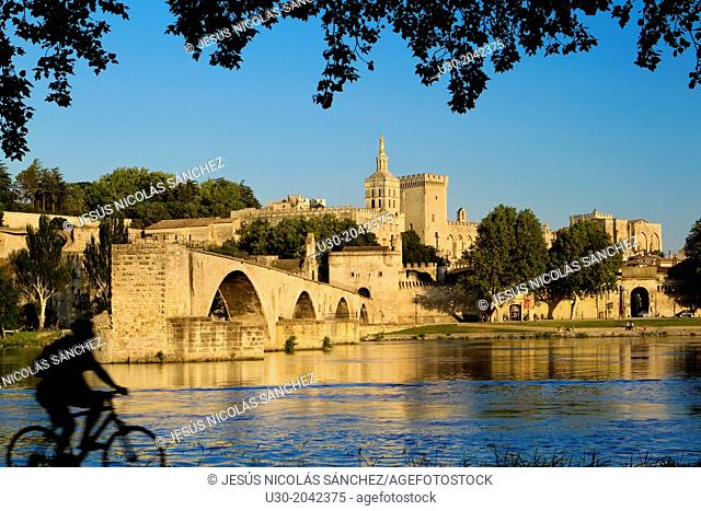 View of Pont d'Avignon (or Pont St Benezet) and Rhone river towards the Papes Palace in the early evening, Avignon city, in Provenza-Alpes-Cotes d'Azur region