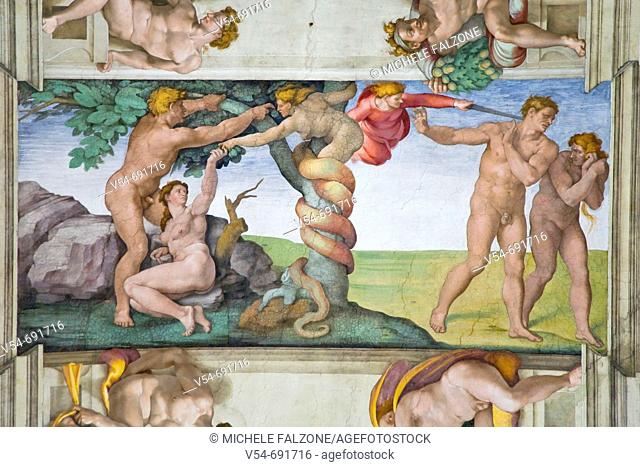 Detail of Michelangelo's Sistine Chapel, Rome, Italy