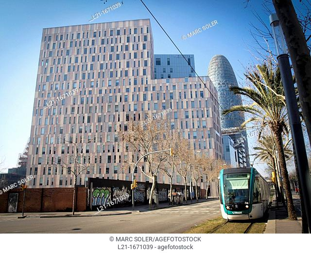 Modern buildings at Avinguda Diagonal, @22 district, Barcelona, Catalonia, Spain