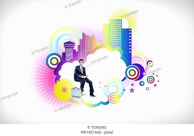A business man next to a cloud