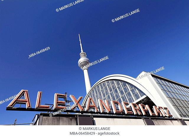 S-Train station Alexanderplatz (square) with television tower, Berlin, Germany
