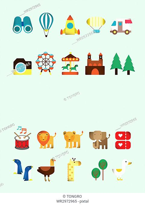 Set of icons related to amusement park and zoo