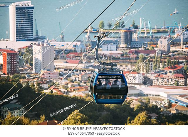 Batumi, Adjara, Georgia. Aerial Lift Cableway In Sunny Summer Day. Pendant Road Is Local Landmark