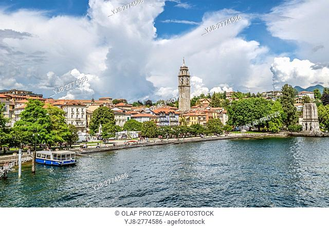 Waterfront of Pallanza at Lago Maggiore seen from the seaside, Piemont, Italy