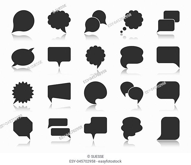 Speech bubble icon set. Web sign kit of comic tell. Communication chat pictograms balloon round scream, circle banner, social media comment