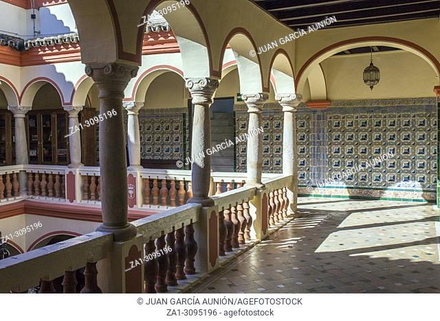 Town Hall Building former Palace of Monsalud, Almendralejo, Badajoz, Spain. Upper floor courtyard