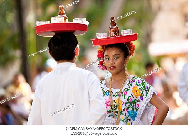 Young mexican dancers on the weekly sunday morning show, Merida, Yucatan, Mexico