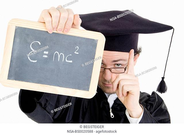 graduate with black board, theory of relativity
