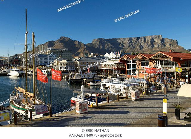 Early morning view of the Waterfront in Cape Town with Table Mountain in the background, South Africa