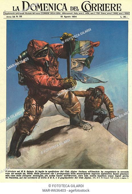ALPINISMO Gli scalatori italiani A. Compagnoni e L. Lacedelli raggiungono la sommità del K2, la seconda vetta del mondo (8611m) dopo l'Everest