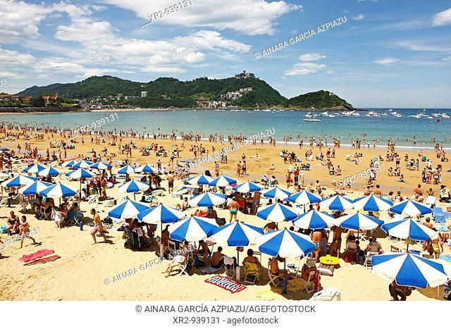Concha Beach in San Sebastian, Guipuzcoa, Basque Country, Spain