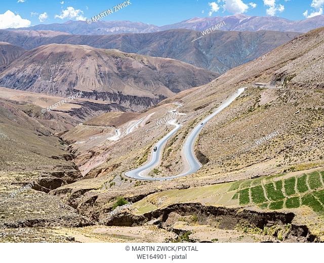 National Road RN 52, the mountain road Cuesta del Lipan climbing up to Abra de Potrerillos. South America, Argentina, November
