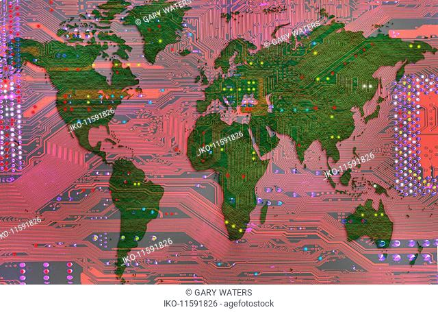 World map on circuit board
