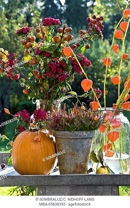Autumnal flowers, pumpkin on cornett tablet