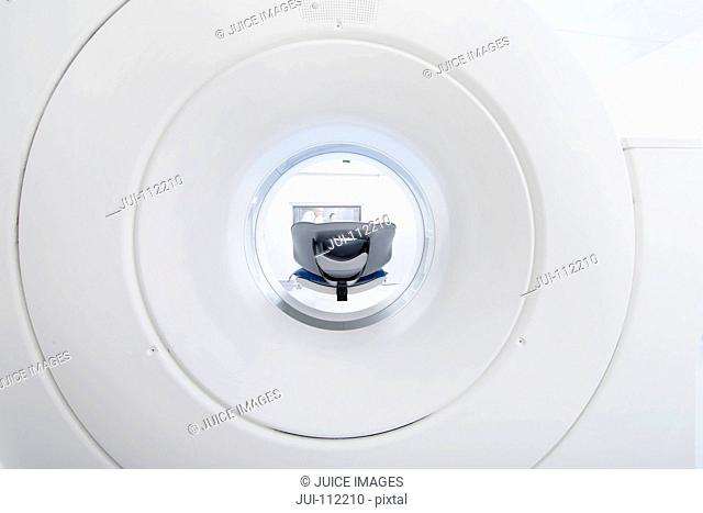Empty CT scanner tube in hospital