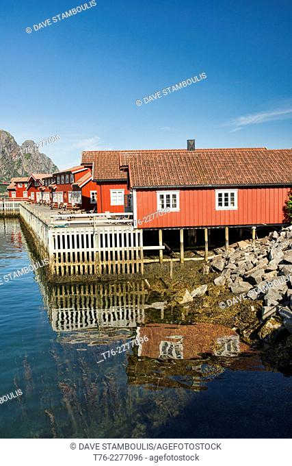 traditional rorbuer fishermens cabins in Svolvaer harbour in the Lofoten Islands, Norway