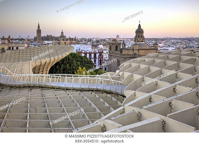 The terrace of the wooden structure of the Metropol Parasol in Seville, Spain