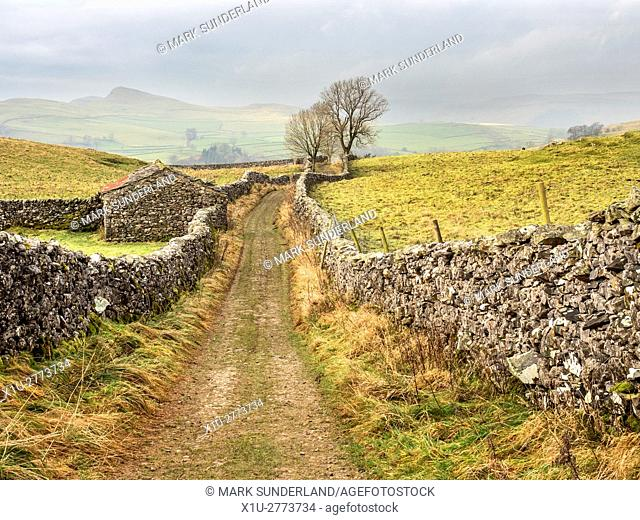 Old Barn on Goat Scar Lane above Stainforth in Ribblesdale Yorkshire Dales England