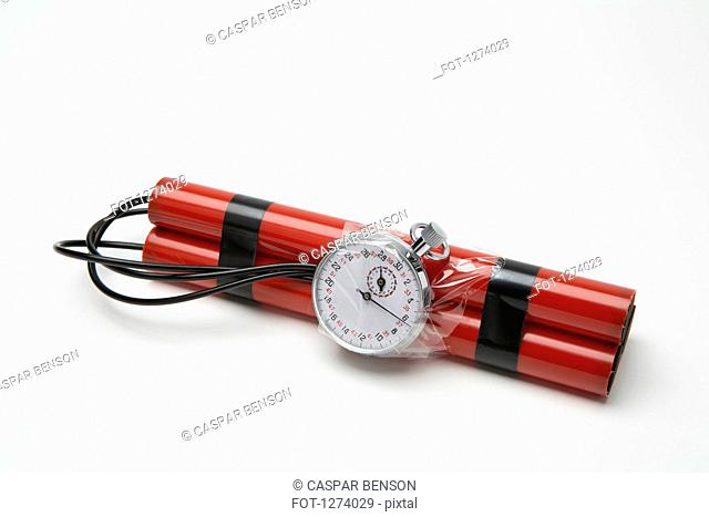 A time bomb made with dynamite and a stopwatch