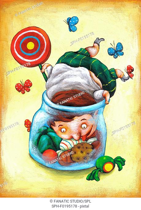 Illustration of fat boy in candy jar