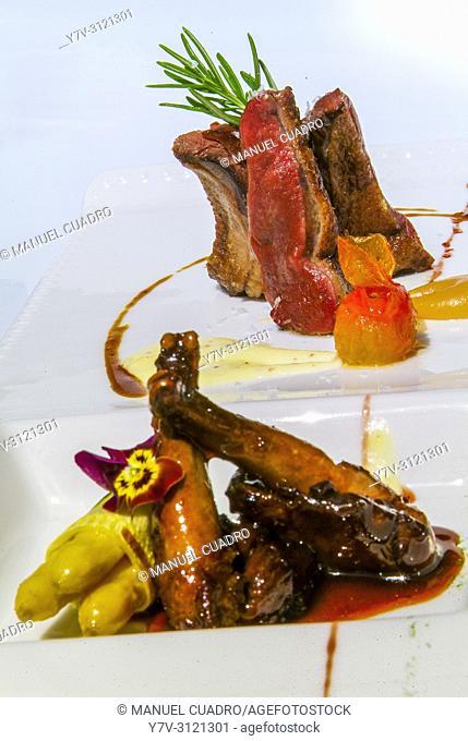 Plato de Pichón, pechugas asadas, muslos estofados con setas silvestres y panceta ahumada. Restaurante del Castillo de Arteaga