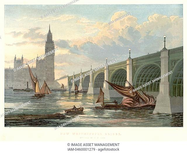 Westminster Bridge, London, looking from the south bank of the Thames  1858  This is the bridge rebuilt by Thomas Page 1803-1877 beginning in 1853  Charles...