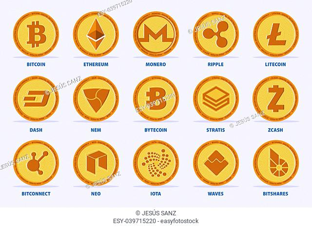 Set of the main Cryptocurrency Coin. Vector illustration with 15 criptocurrency in flat style