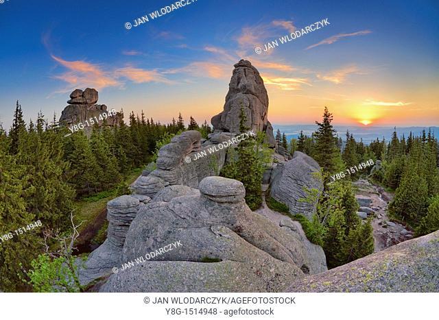 Rock formations in Karkonosze National Park, sunrise, Poland, Europe