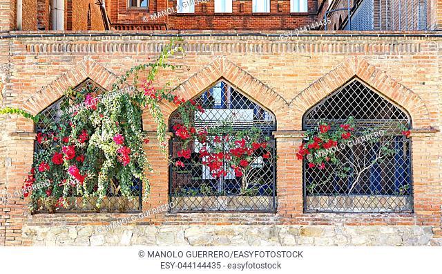 Facade of windows with flowers in La Sagrera of Barcelona, Catalunya, Spain